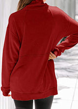 Solid Color Stand Collar Long Sleeve Top