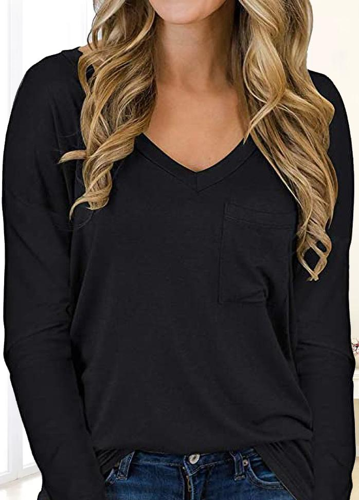 Solid Color V Neck Long Sleeve T-shirt