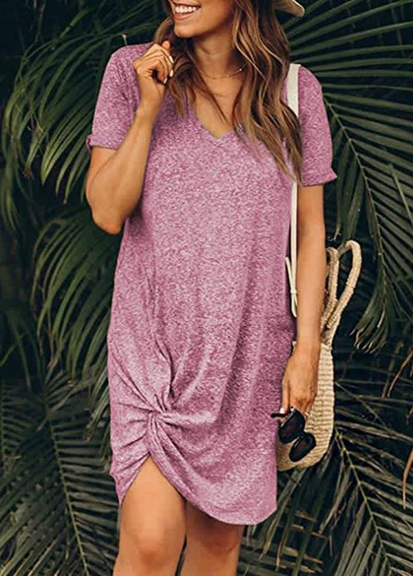 V Neck Short Sleeve Mini Dress