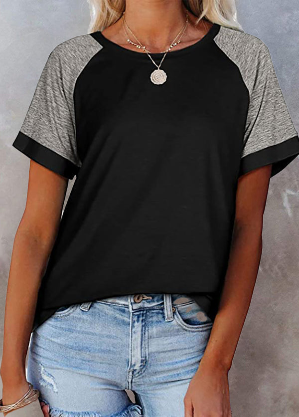 Round Neck Short Sleeve Patchwork T-shirt