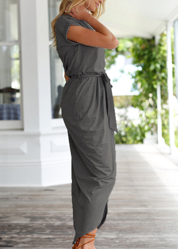 Solid Color Short Sleeve Round Neck Maxi Dress