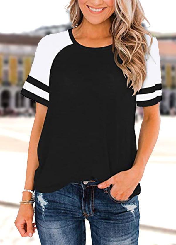 Patchwork Round Neck Short Sleeve T-shirt
