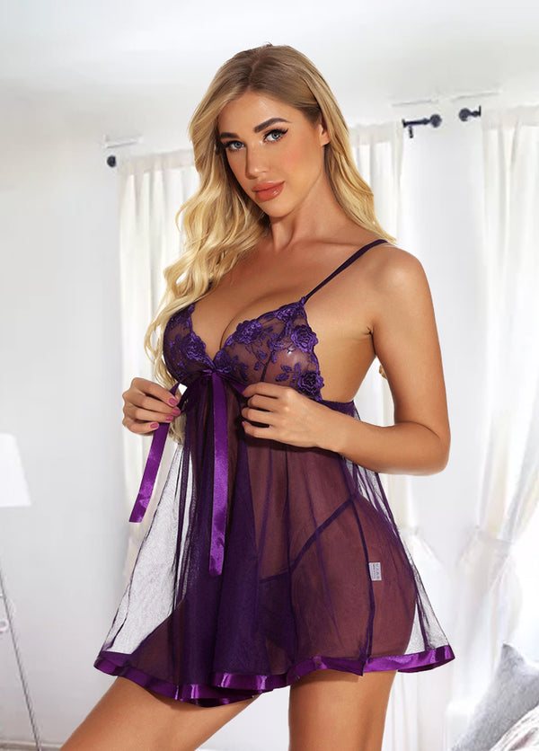 Straps Mesh See Through Sexy Nightdress