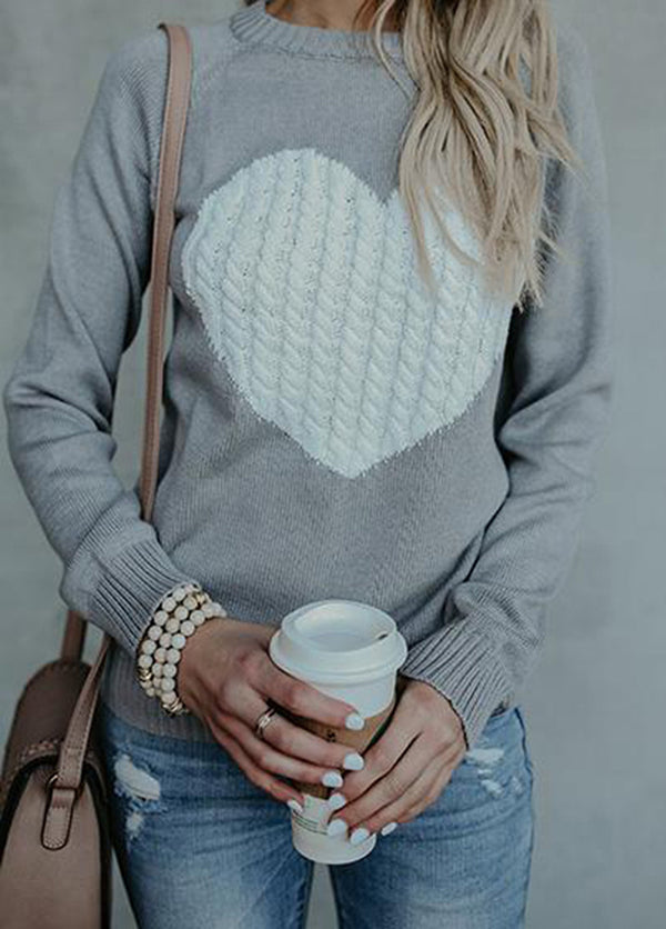 Round Neck Patchwork Long Sleeve Sweater