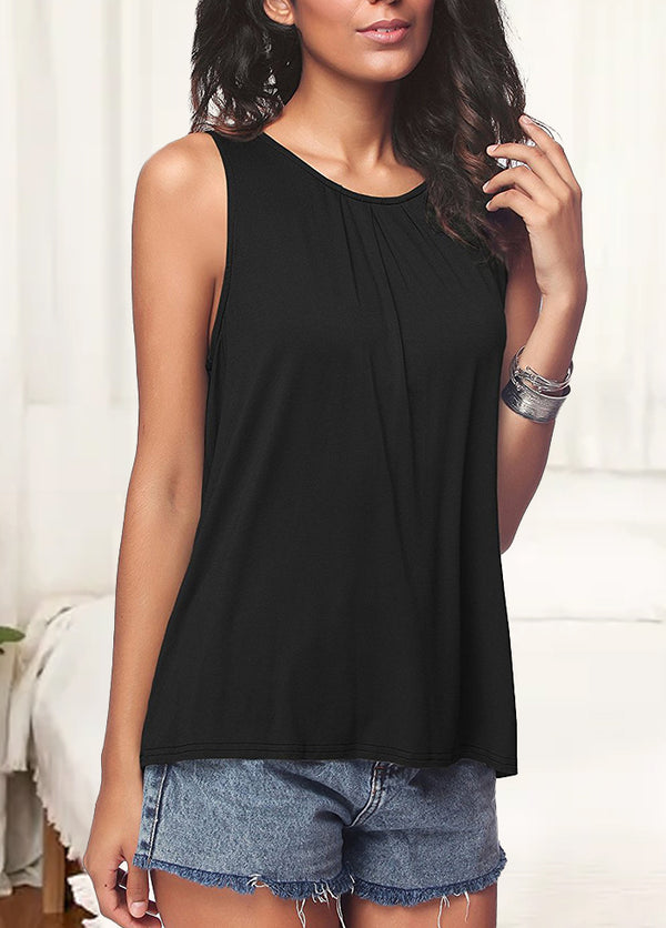 Solid Color Round Neck Sleeveless T-shirt
