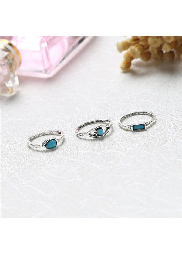 8pcs Silver Metal Turquoise Embellished Rings Silver 1901250508601