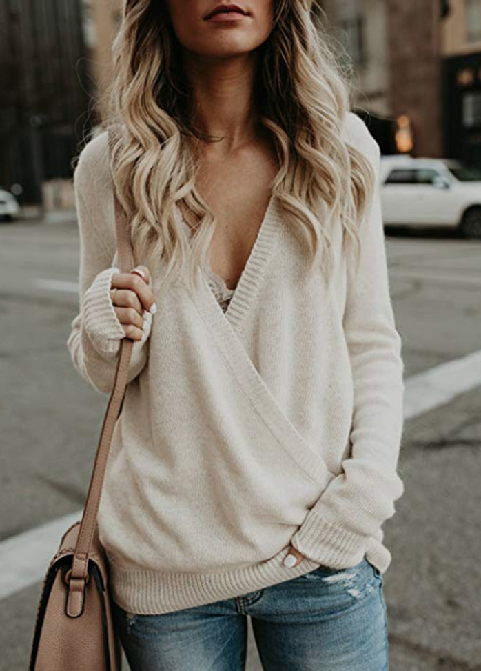 Solid Color V Neck Casual Sweater