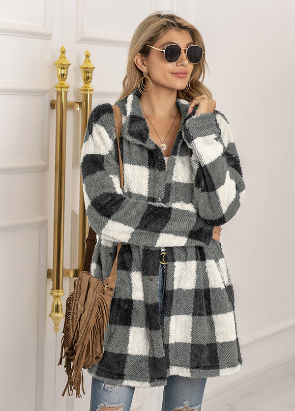 Casual Plaid Long Sleeve Coat