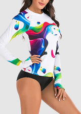 Long Sleeve Printed Tankini Set