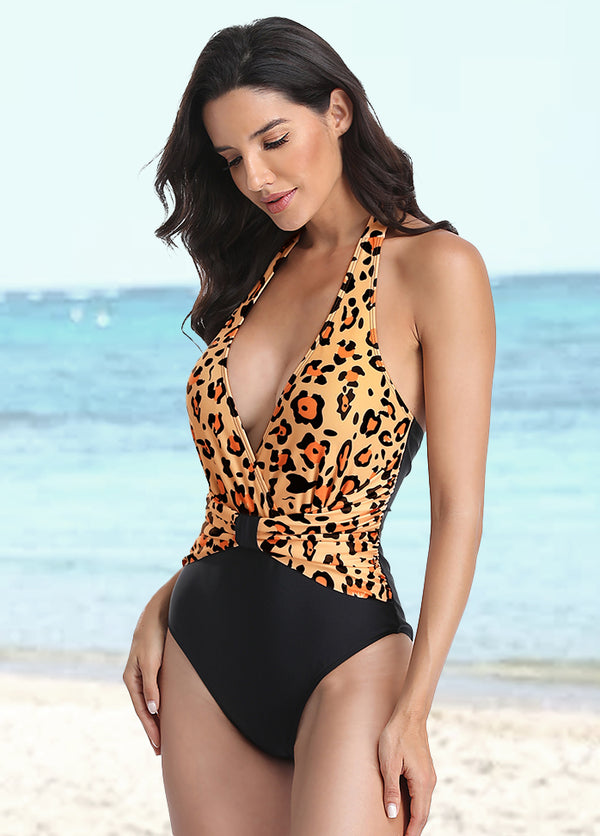 V Neck Printed One Piece Swimwear