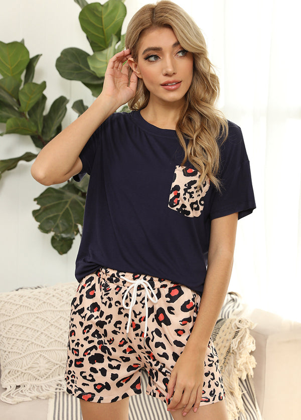Printed Short Sleeve Round Neck T-shirt And Shorts