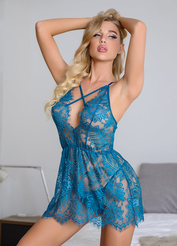See Through Cross Straps Lace Sexy Nightdress