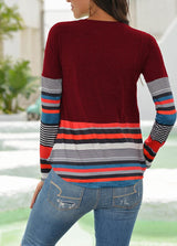 Round Neck Long Sleeve Patchwork T-shirt