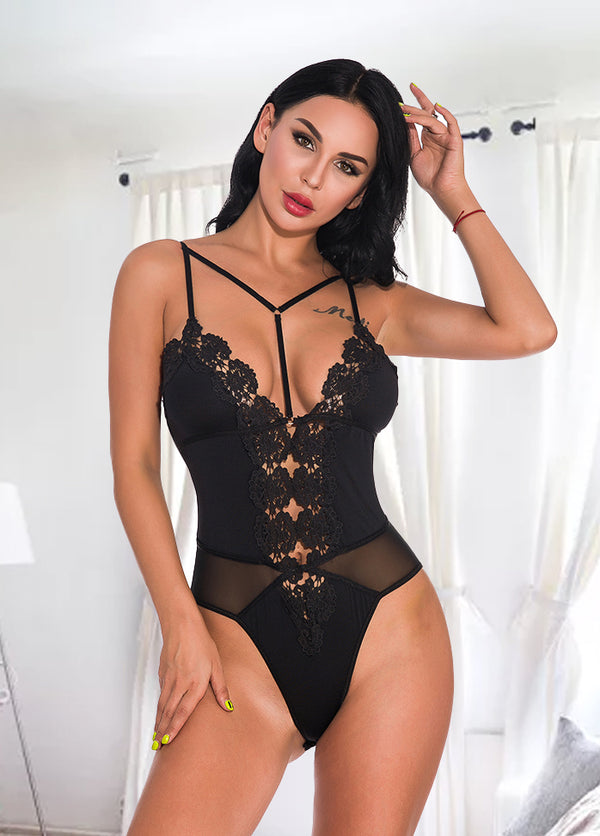 Straps Solid Color Sexy Bodysuit