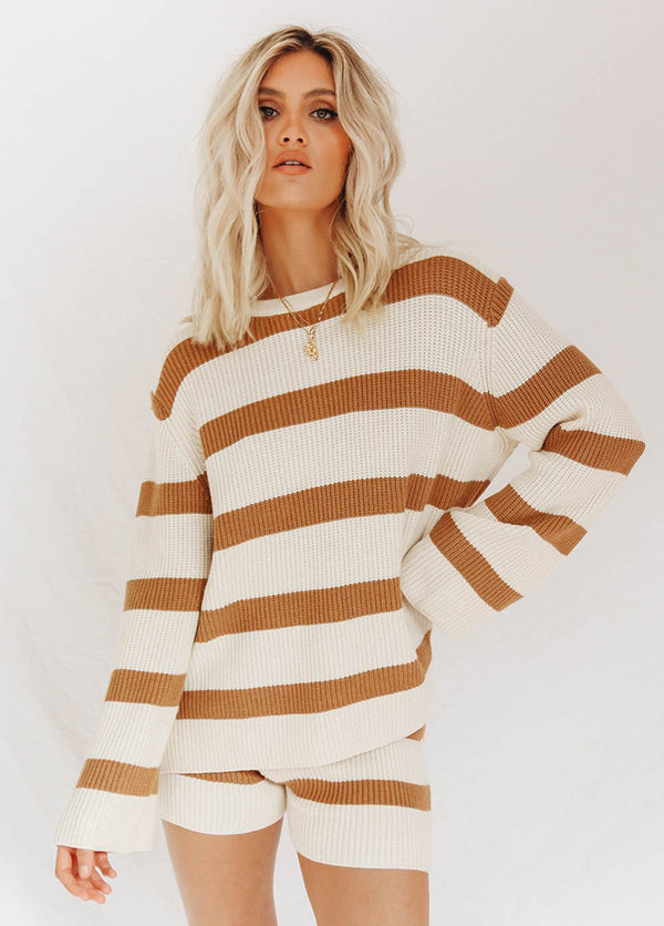Striped Long Sleeve Round Neck Sweater Top And Shorts