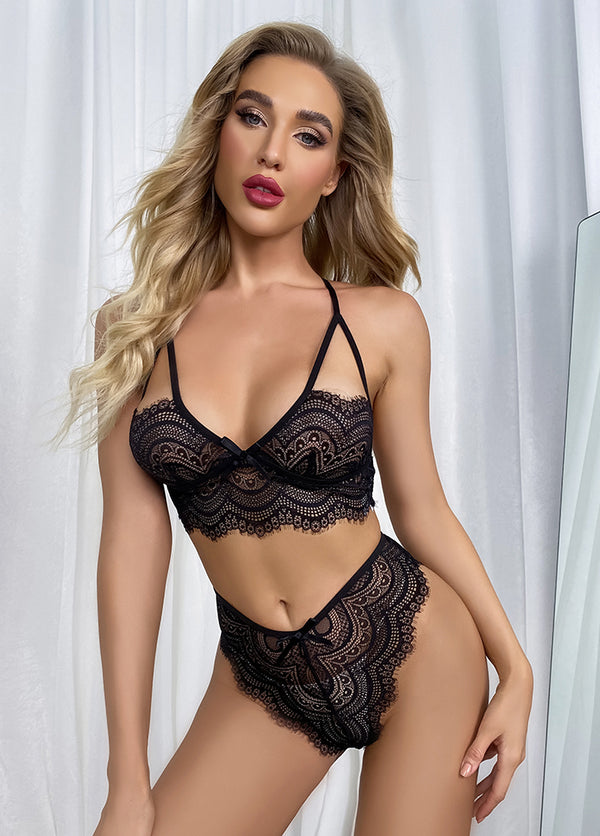 Cut Out Solid Color Sexy Lingerie Set