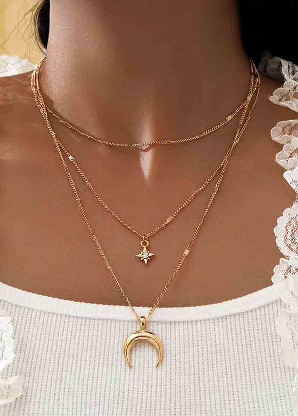 Eight-Pointed Star Moon Necklace