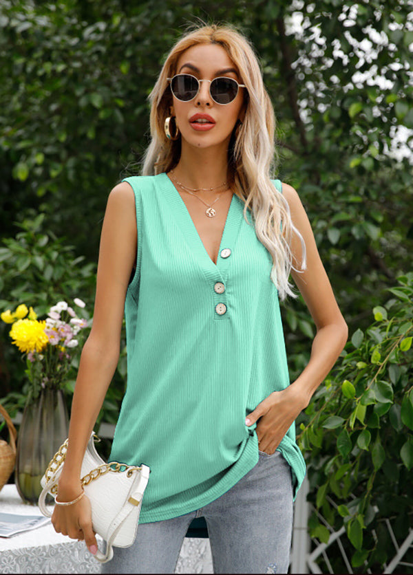 Solid Color V Neck Sleeveless T-shirt