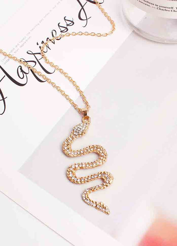 Metallic Diamond Snake Pendant