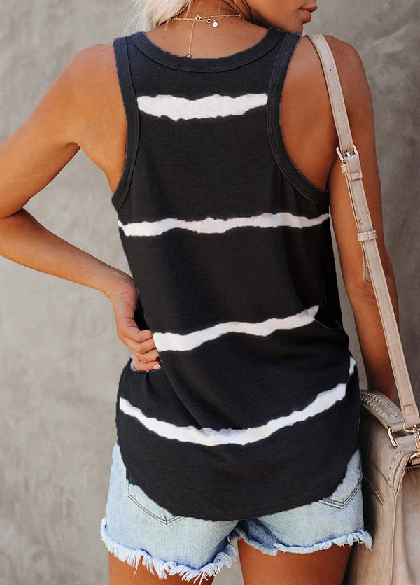 Striped Round Neck Sleeveless Tank Top