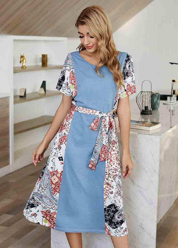 Round Neck Printed Patchwork Dress