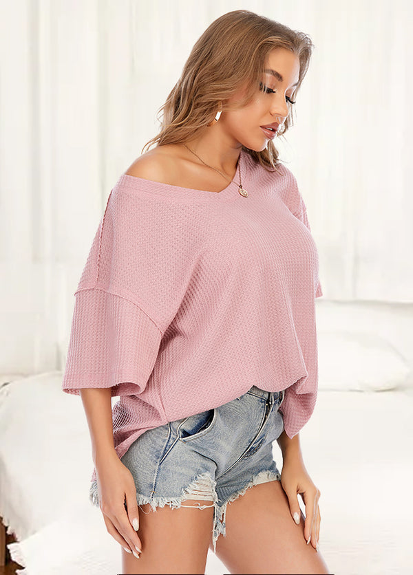V Neck Batwing Sleeve Solid Color T-shirt