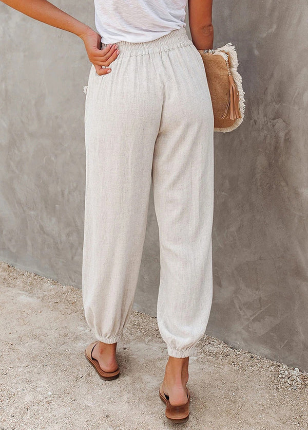 Solid Color High Waist Ankle Banded Pants