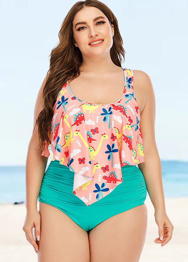 High Waist Printed Tankini Set