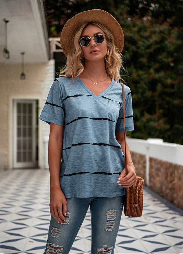 Striped V Neck Short Sleeve T-shirt