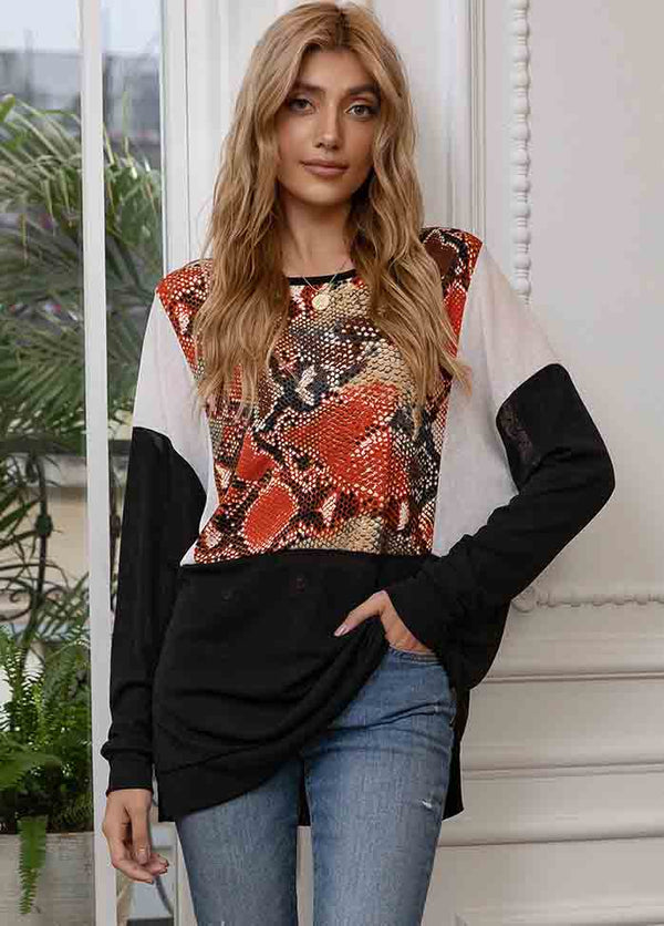 Patchwork Round Neck Long Sleeve T-shirt