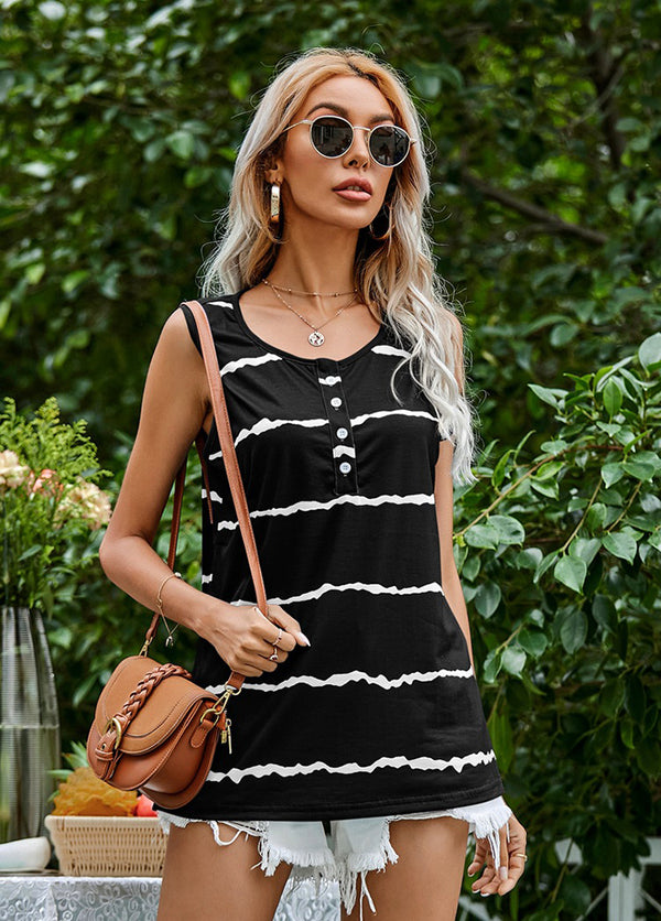 Striped Sleevelss Round Neck T-shirt