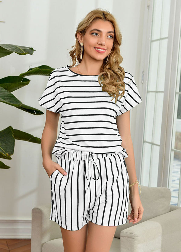 Striped Short Sleeve Round Neck T-shirt And Shorts
