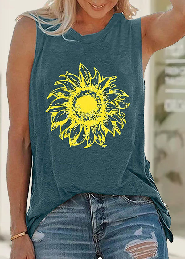 Daisy Printed Round Neck Sleeveless T-shirt