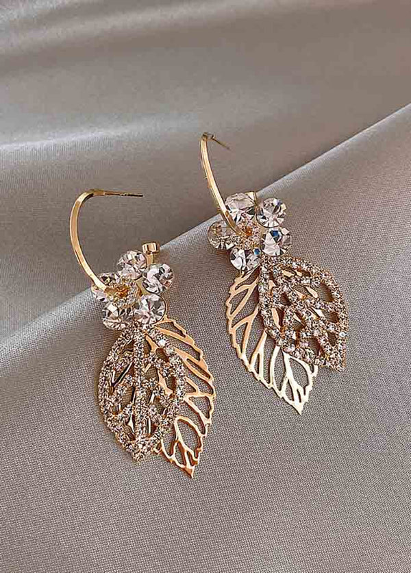 Zircon Flower And Leaf Stud Earrings