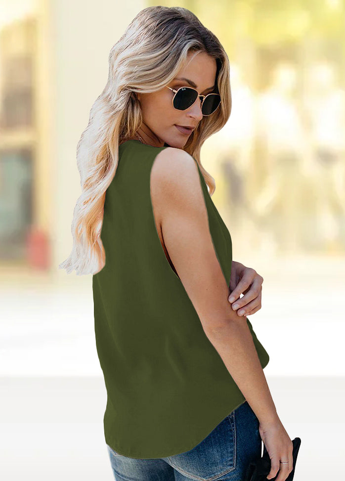 V Neck Sleeveless Solid Color T-shirt