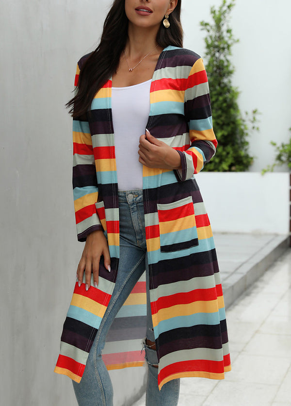 Round Neck Printed Long Sleeve Coat