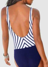 Striped Patchwork One Piece Swimwear