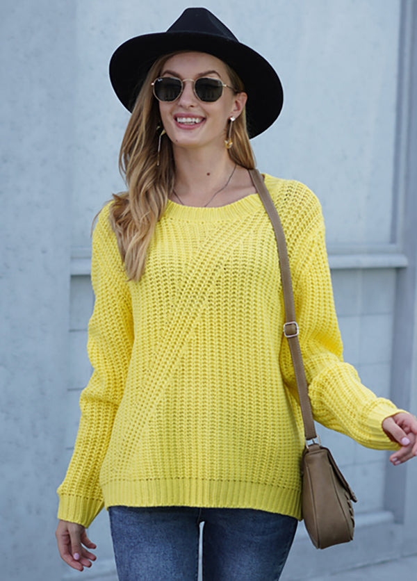 Solid Color Long Sleeve Round Neck Sweater