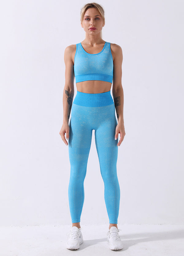 Solid Color High Waist Yoga Bra And Pants