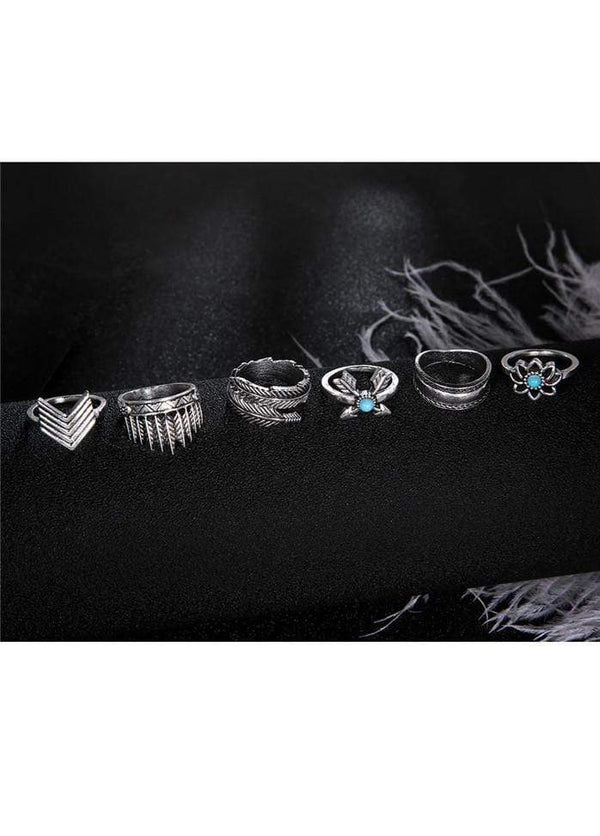 Bead and Arrow Embellished Metal Ring Set Silver 1901250508801