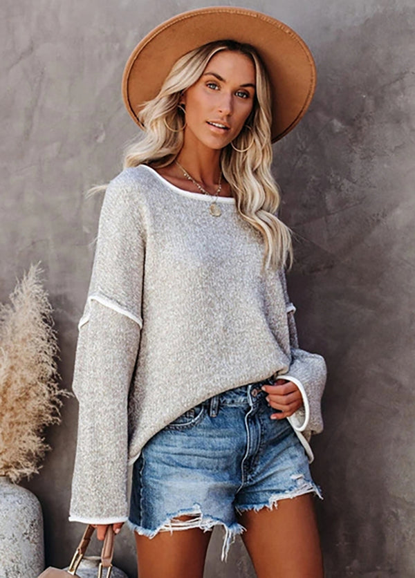 Solid Color Round Neck Long Sleeve Knitted Top