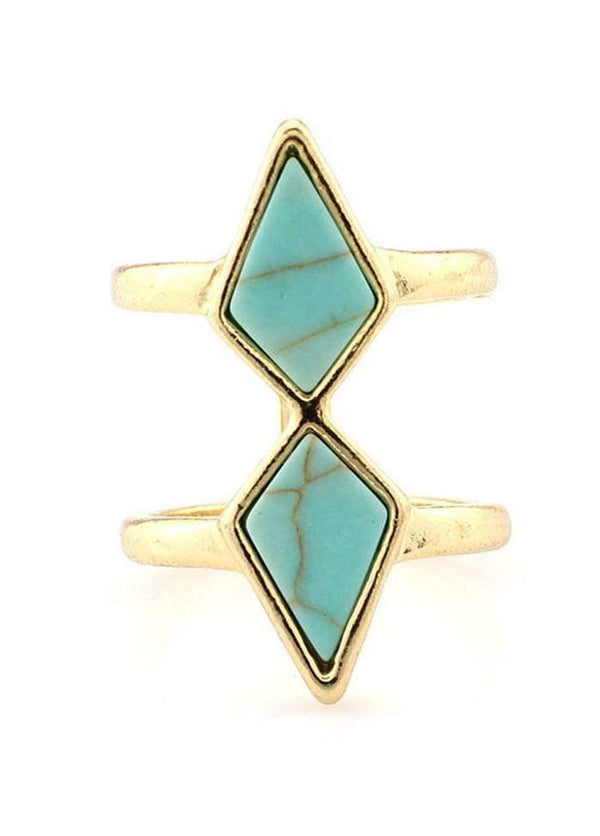 Cyan Stone Decorated Double Layer Ring Cyan 1901250510901