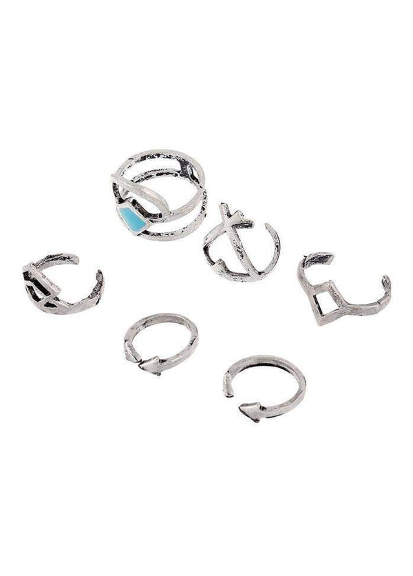 Geometric Shape Silver Metal Rings Set Silver 1901250508701