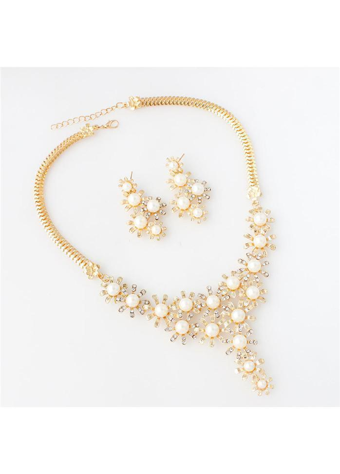 Gold Metal Faux Pearl Decorated Necklace Set Gold 1901250512001