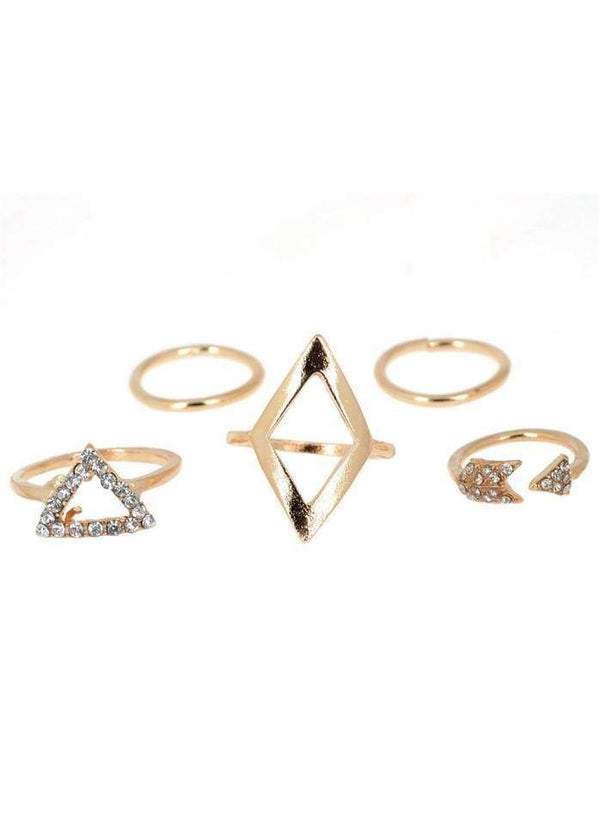 Gold Metal Geometric Shape Rhinestone Decorated Rings Gold 1901250518401