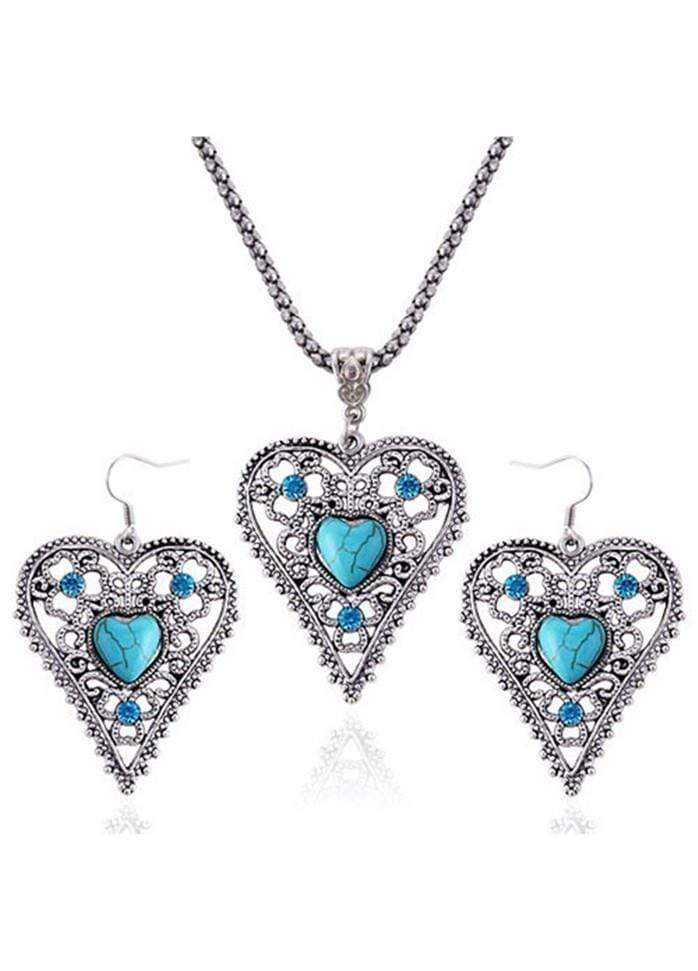 Heart Shape Cyan Stone Decorated Metal Necklace Silver 1901250513401