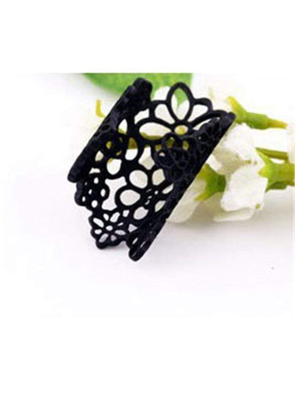 Hollow Out Flower Shape Knuckle Ring Black 1901250511001