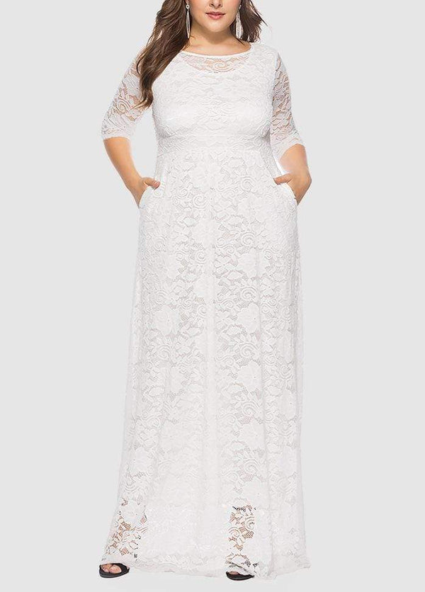 Lace Hollow Out Round Neck Solid Color Dress