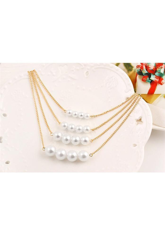 Layered Metal Chian Faux Pearl Decorated Necklace Gold 1901250500101