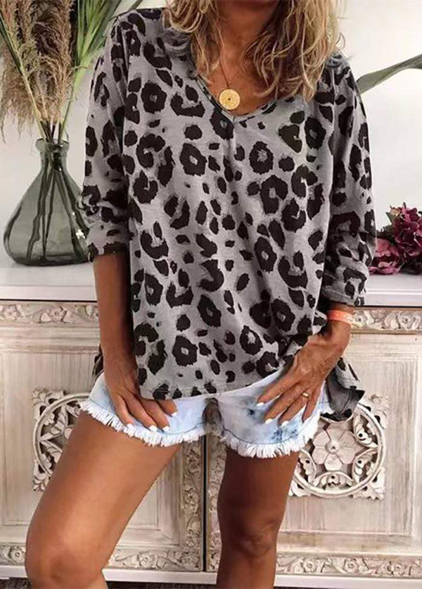 Leopard Printed Long Sleeve Shirt Gray / XS 2002240305701
